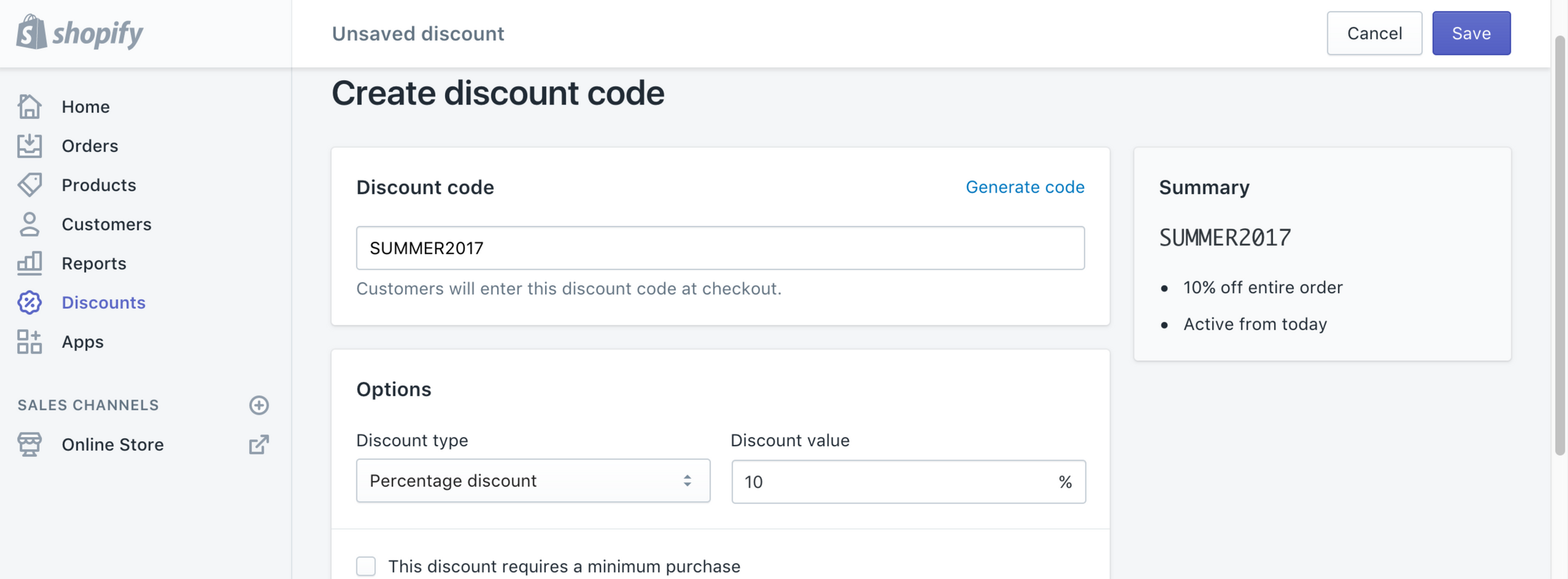 Shopify Discount Code Screenshot