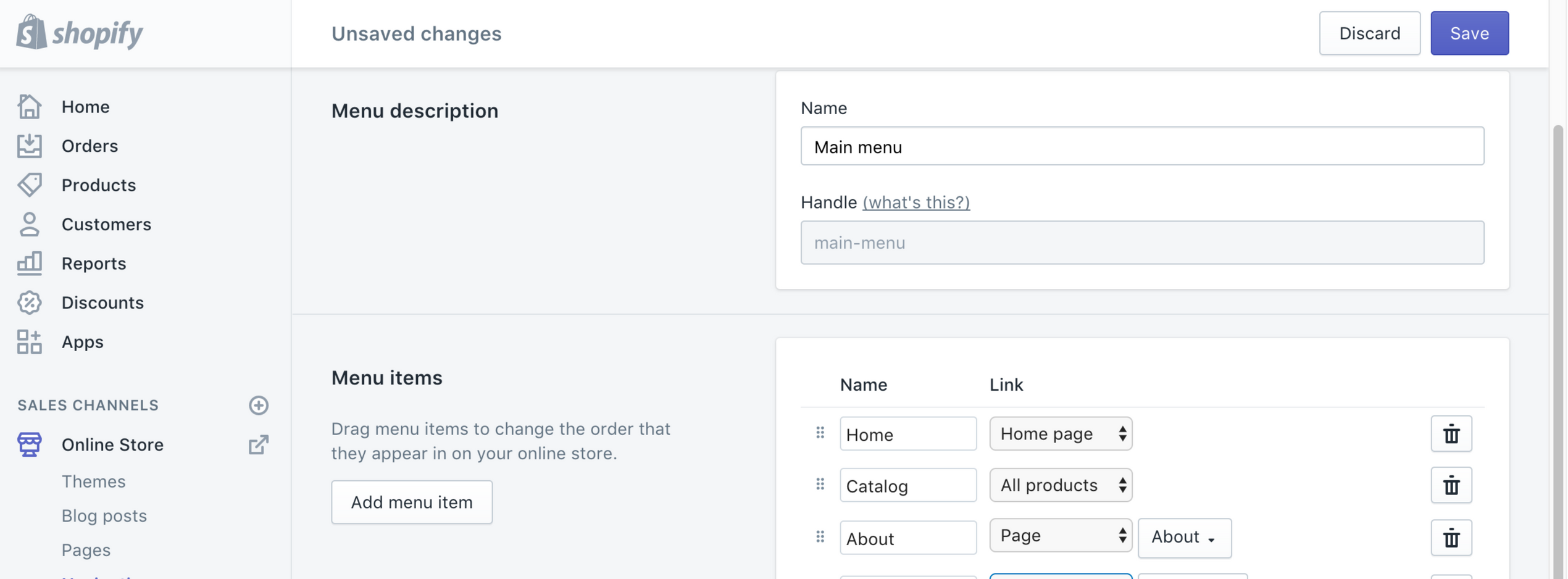 Shopify Menu Screenshot