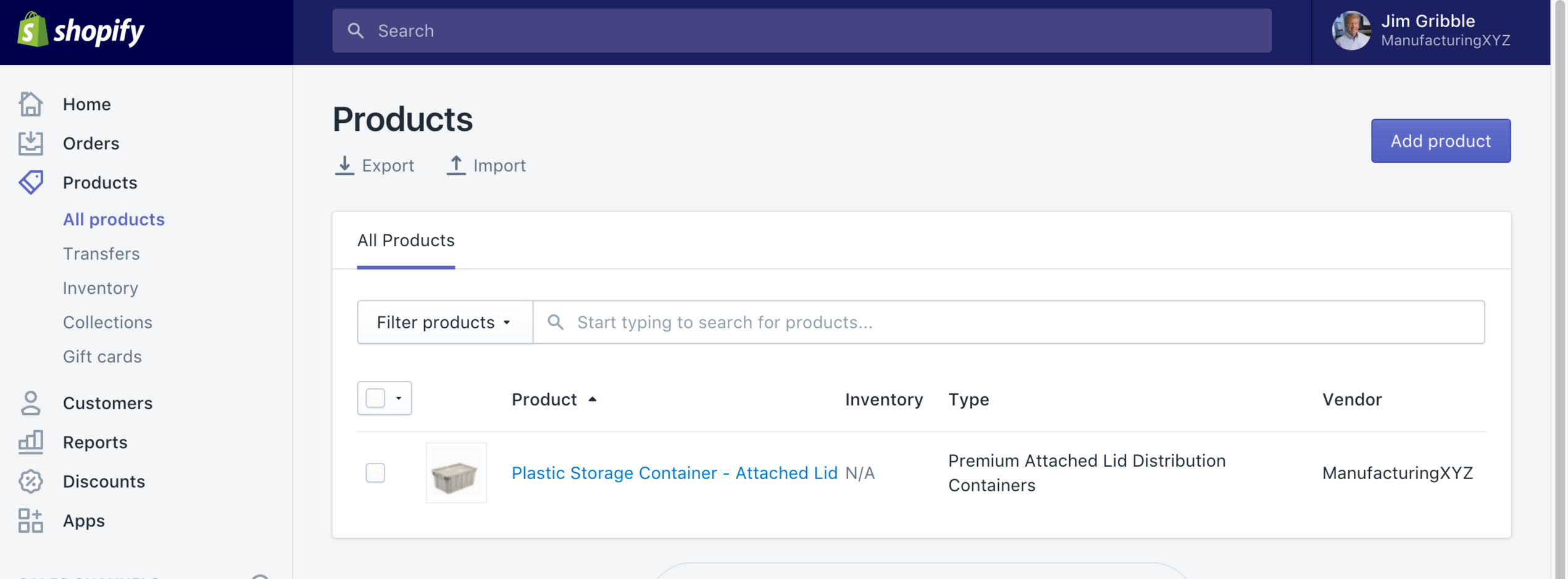 Shopify Products Screenshot