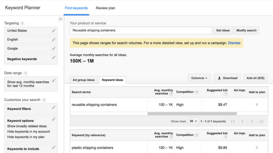 Screenshot of Google SEO Keyword Tool
