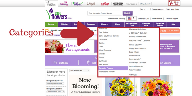 Screenshot of 1-800-Flowers