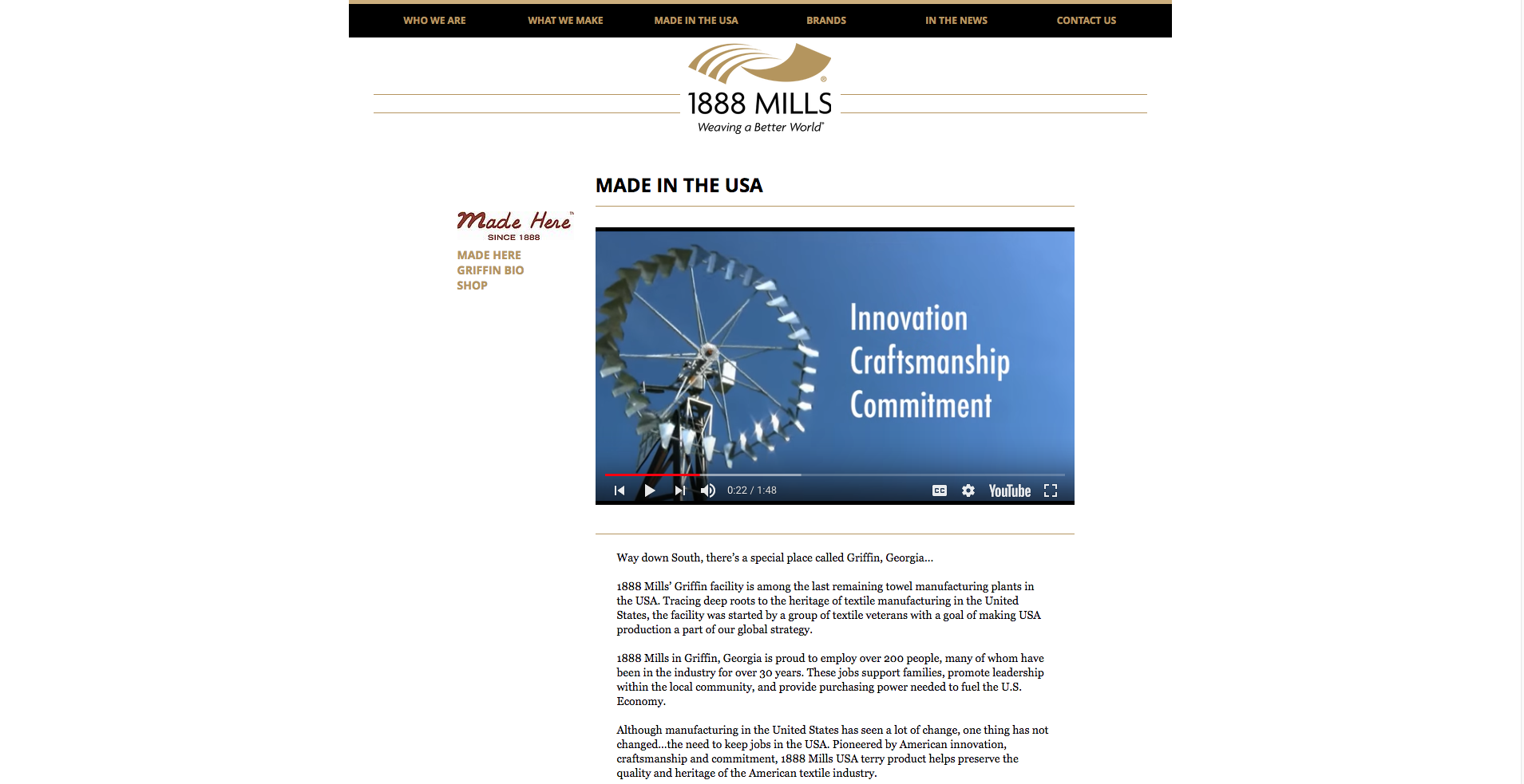1888 Mills Made In USA Landing Page