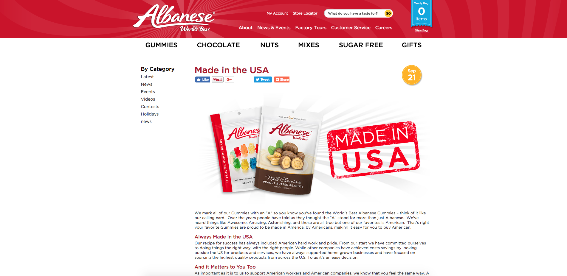 Albanese Made In USA Landing Page