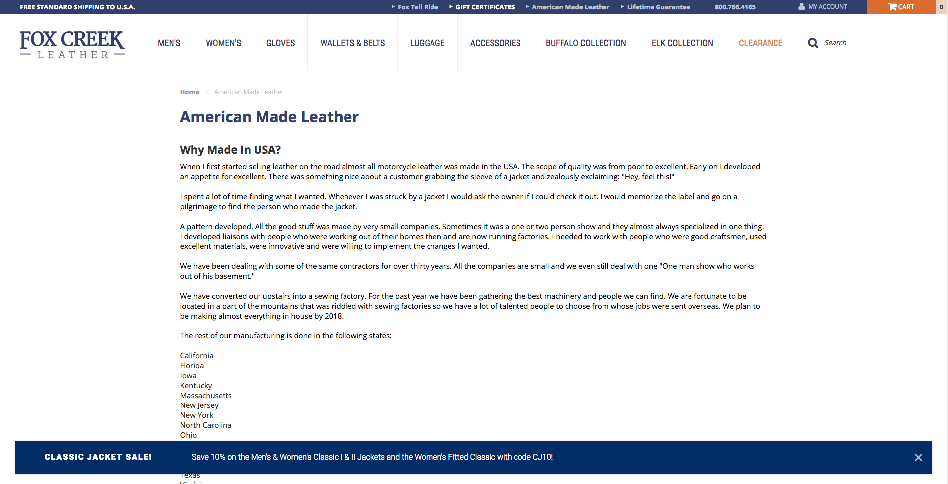 Fox Creek Leather Made In USA Landing Page