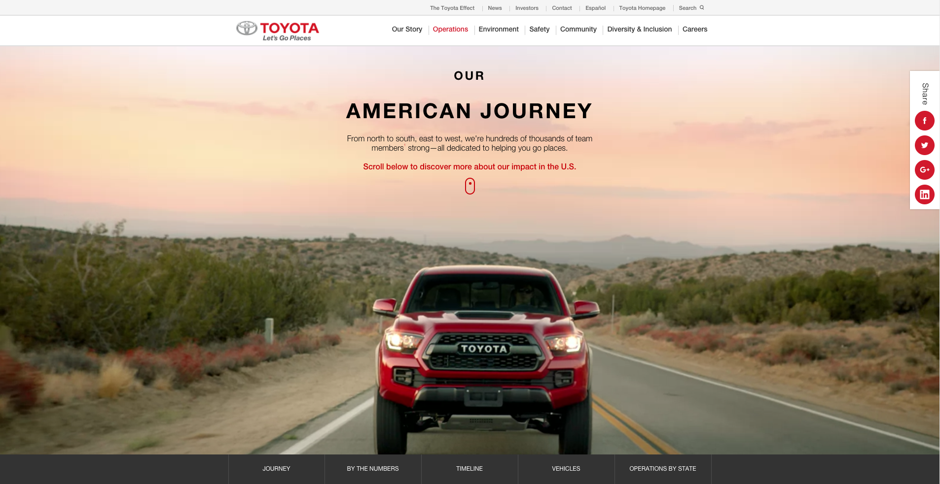 Toyota Made In USA Landing Page