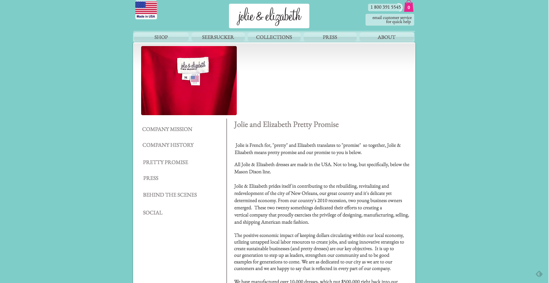 Jolie and Elizabeth Made In USA Landing Page